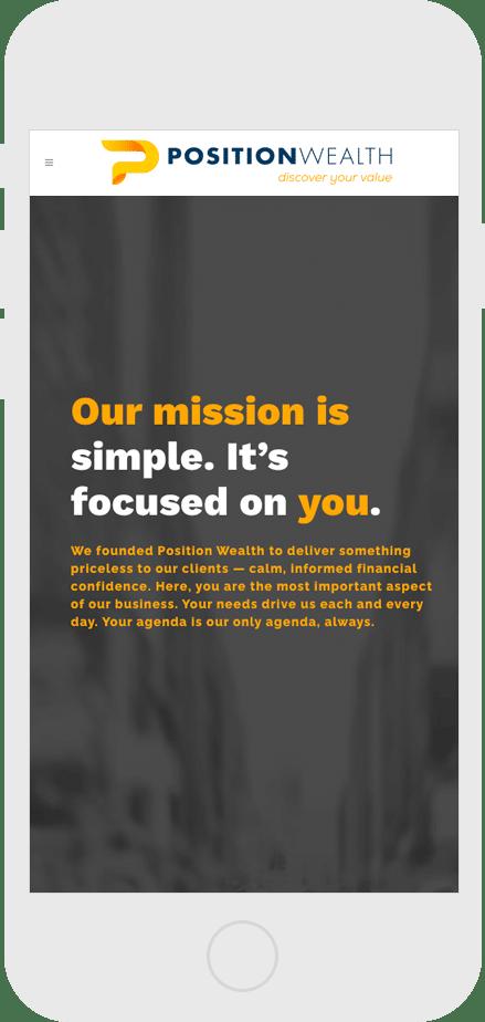 mobile mockup of website